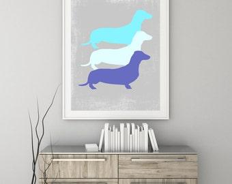 Dachshund Art Print, Dachshund Wall Art, Dachshund Decor, Home Decor, Dog Decor, Modern Decor