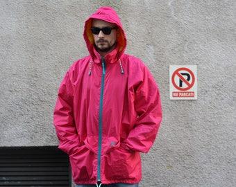 Vintage Helly Hansen sailing jacket / Nautical marine rain coat / Mens waterproof boat cloak / Fucsia pink yellow / made in Portugal 90s L