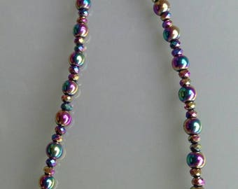 Rainbow Hematite and crystal  Necklace