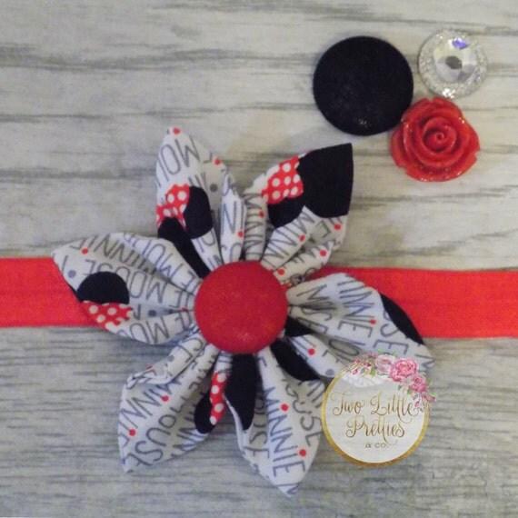 Minnie Mouse Fabric Flower Headband | Baby Girl | Hand sewn