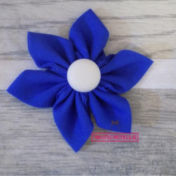Large Cobalt Blue Fabric Flower Headband | Baby Girl | Hand Sewn