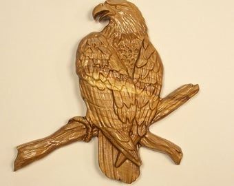 Wood Wall Art Bald Eagle Perched Wood Carving Wall Hanging