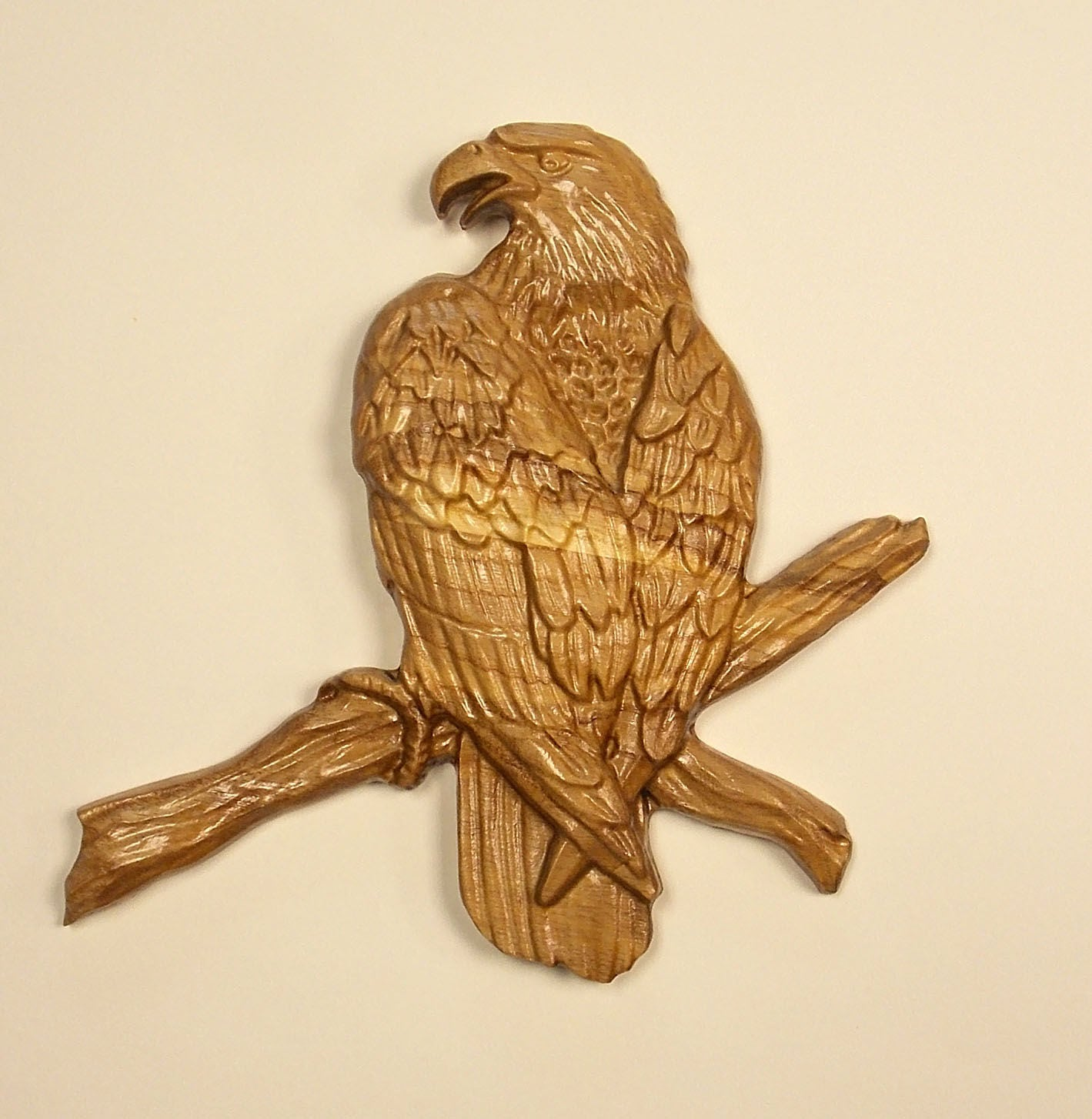 Wood wall art eagle carving hanging rustic home