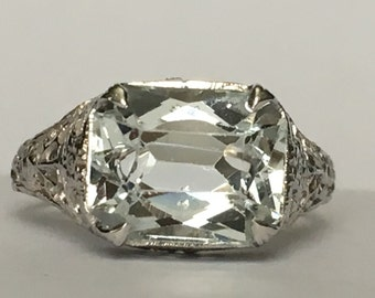 Vintage Aquamarine Ring. 14k Gold. Art Nouveau Filigree. 2 Carat. Unique Engagement Ring. March Birthstone. 19th Anniversary. Estate Jewelry
