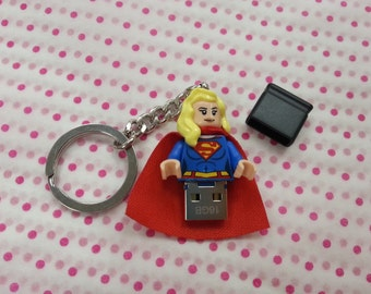Hand Made USB Flash Drive, 16GB made using a Super Woman LEGO minifigure with Giftbox