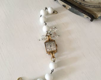Repurposed Vintage Watch Case and Rosary Bead Bracelet