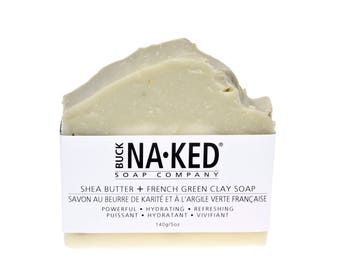 Natural Soap Shea Butter & French Green Clay Soap - Soap, Vegan Soap, Handcrafted Soap, Clay Soap, Glycerin Soap, Cold Process Soap, Soap