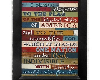 The Pledge of Allegiance, American Decor, Home Decor, Patriotic, Art Print, Wall Hanging, Handmade, 14x11 Custom Wood Frame, Made in the USA