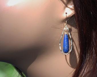 Blue Lapis earrings 14kt Gold drop dangle earrings 14kt gold earwire earrings Semi-precious earrings Precious earrings