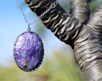 Blue purple Charoite Semi-precious gemstone pendant necklace semi-precious gemstone jewelry