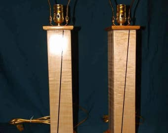 Curly Maple table lamps with Wenge inlays