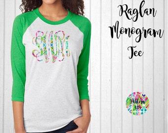 Monogram Shirt, Monogram Raglan Tee // Lilly Monogram T-Shirt in Pattern 348