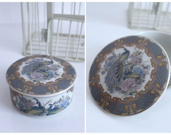 Vintage Grey White Gold Blue Pink China Peonies and Peacock Decorative Trinket Box / Jewellery Box with Lid / FREE UK SHIPPING