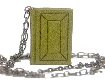 Handmade leather chained book necklace - Olive