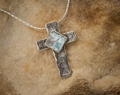 "Roman glass and sterling cross pendant.Christian, religious pendant. 18"" sterling chain. FREE SHIPPING. 10% off coupon see Description area."