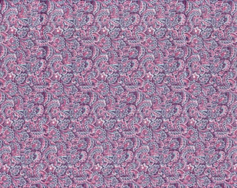 "Floral Quilt Fabric - Pink Purple Blue Jacobean Flowers - 100% Cotton - OOP - 17"" Remnant"