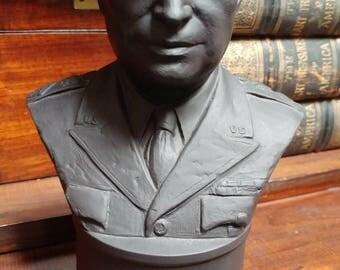 Wedgwood Black Basalt Bust Of Dwight Eisenhower