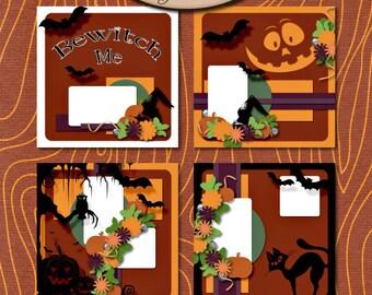 Digital Scrapbook: Template, Halloween, Bewitch Me Template Set
