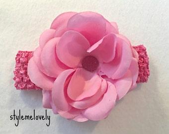 Baby Girl Pink Flower Headband