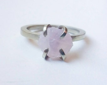 Raw stone engagement ring Raw stone ring Brass ring German Silver Rose quartz handmade ring Love stone  Natural stone Ring Druzy Ring