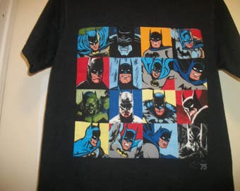Retro 80s 90s SUPER COLORS BATMAN Faces Teeshirt, Sm