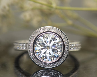 2ct Forever Brilliant Moissanite and Diamond Halo Engagement, 2ct Bezel Set Center, Diamond Halo and Band, Fit Flush Design, Elizabeth L