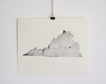 Virginia Map Etsy - State map of va