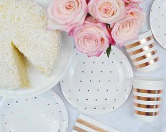 Rose Gold Dinner Plates, Paper Plates: Rose Gold Polka Dot Plates Rose Gold Party Decorations