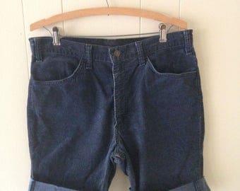 Navy Blue Levi's Corduroy Cut Off Shorts Size 34