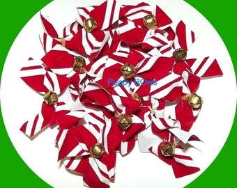 Puppy Bows ~ CHRISTMAS velvet candy cane stripe jingle bells dog bow