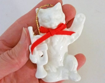 Vintage Cat Ornament, White Porcelain Cat and Trumpet, Christmas Tree Ornament, White Cat with Red Bow, White Cat Figurine, Porcelain Cat