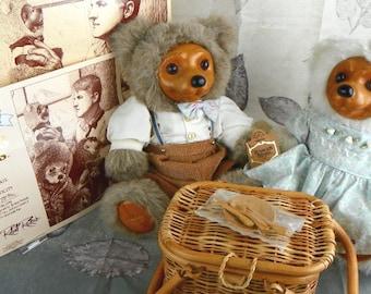 Vintage 1992 Robert Raikes Bears Alec and Allison Complete Picnic Pair