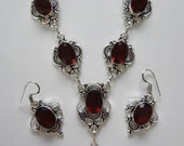 """VALENTINE EXTRAVAGANZA RARE Alaskan Almandine Garnet Necklace and Earring Set  925 Sterling Silver 18.5"""" Necklace 1.5"""" Earrings (incl. hoo"""