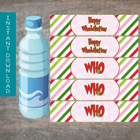 Grinch Party Water Bottle Wraps Cindy Lou By