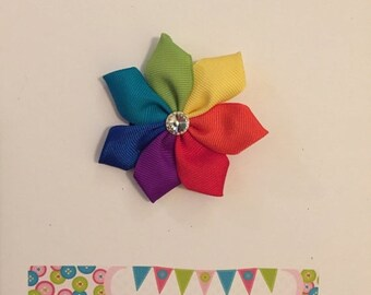 Rainbow Ribbon Flower Hair Bow