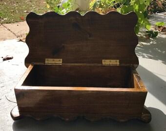 Handmade wooden poplar box for storage/jewelry