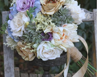 Vintage Pastel Lilac Blush Champagne Lavender Silk Wedding Bouquet
