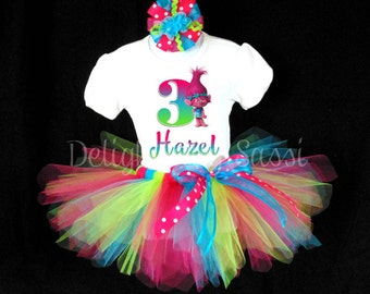 Trolls Tutu Set, Trolls Birthday Tutu, Trolls Birthday, Birthday Tutu, Personalized Tutu, Tutu Set, Personalized Birthday Tutu