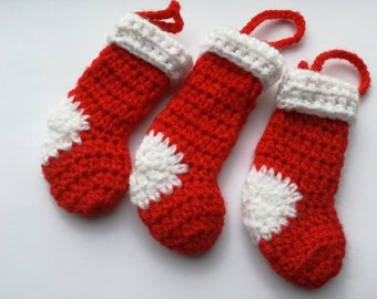 Set of 3 Red Christmas Stocking Crochet Tree Decorations