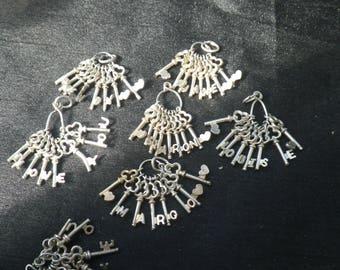 Sterling Silver I Love You Keys Charm Pendant