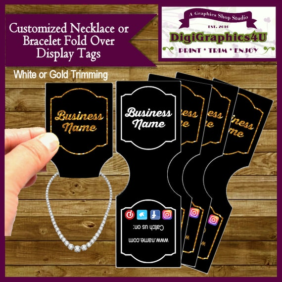 Jewelry Tags, Jewelry Price Tags, Display Tags, Fold Over