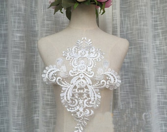 Super Luxury Lace Appliques Ivory Tulle Exquisite Lace Applique For Wedding Dress Grown Bridal Veil Bodice