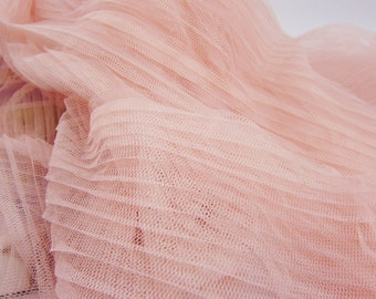 "Lace Fabric Pink Fold Ruffled Tulle Wedding Fabric 61"" width 1 yard"