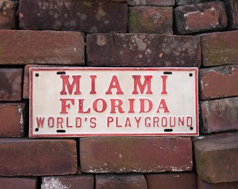 Miami Florida Vanity Front License Plate Vintage Wall or Car Decor