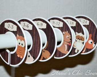 Baby closet dividers, Woodland Dividers, Closet Organizers, Boy Nursery Closet, Kids Clothes organizers, Brown dividers C205