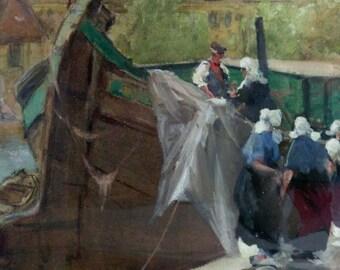Antique Original Impressionist Painting Francis Hopkinson Smith Dutch Landscape