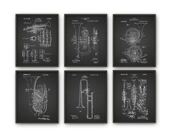 Wind Instrument Patent Print Set of 6 - Classical Music Orchestra - Musician Wall Decor - Musical Instrument Design - Musician Gift Idea