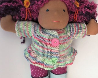 """Waldorf doll clothes, hand knitted doll sweater, waldorf doll sweater, 15"""" doll sweater"""