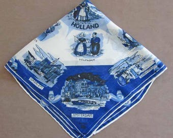 Holland Souvenir Nylon Handkerchief Blue  and White Hanky 17 by 16 Inches Square Vintage 1960's