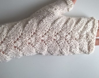 Handknitted white babyalpaca silk fingerless gloves wrist warmers wedding gloves size M